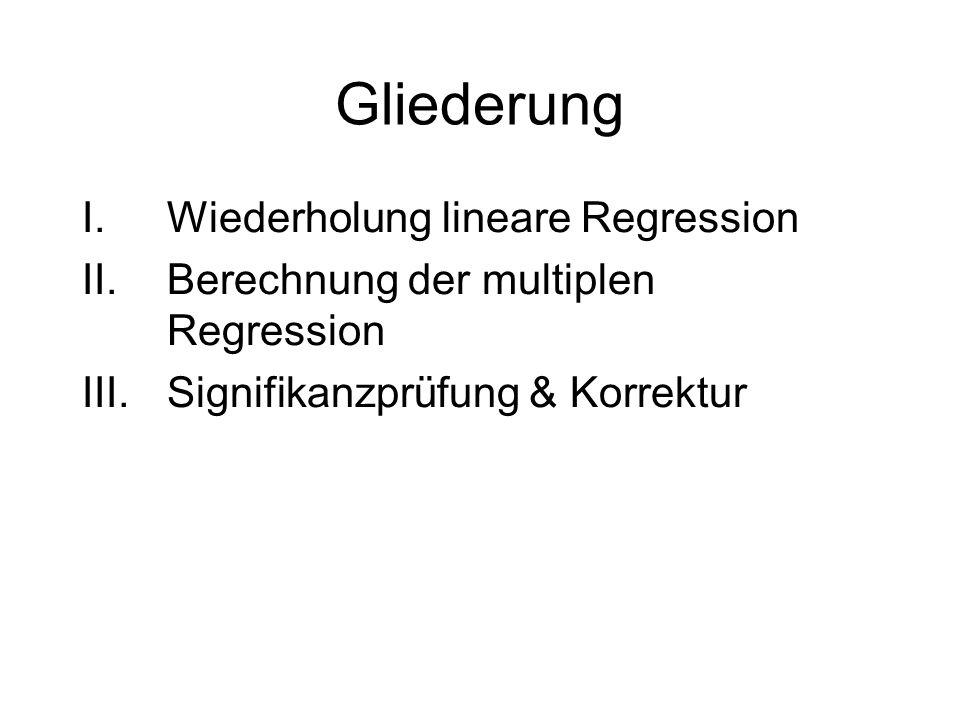 Gliederung Wiederholung lineare Regression
