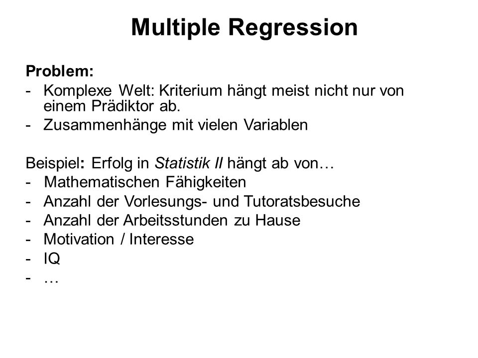 Multiple Regression Problem:
