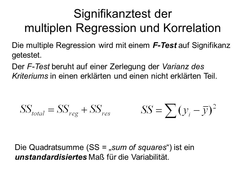 Signifikanztest der multiplen Regression und Korrelation