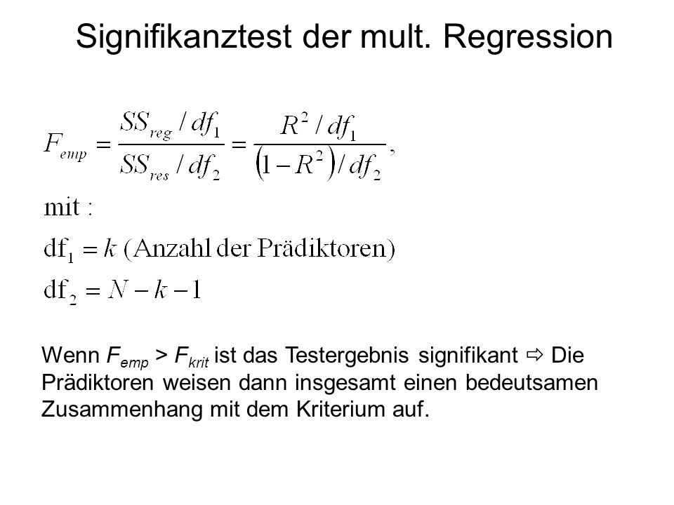 Signifikanztest der mult. Regression