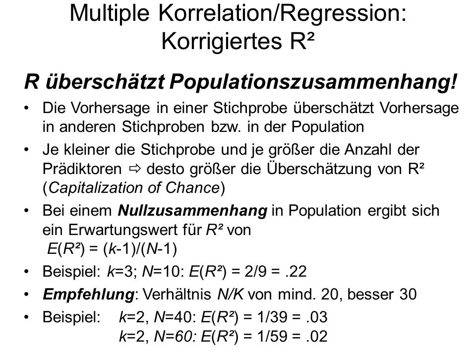 Multiple Korrelation/Regression: Korrigiertes R²