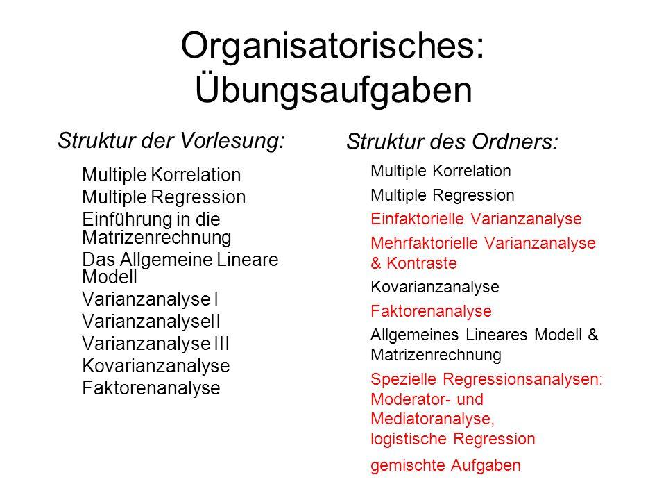 Organisatorisches: Übungsaufgaben