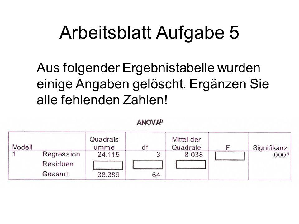 Arbeitsblatt Aufgabe 5 Aus folgender Ergebnistabelle wurden einige Angaben gelöscht.