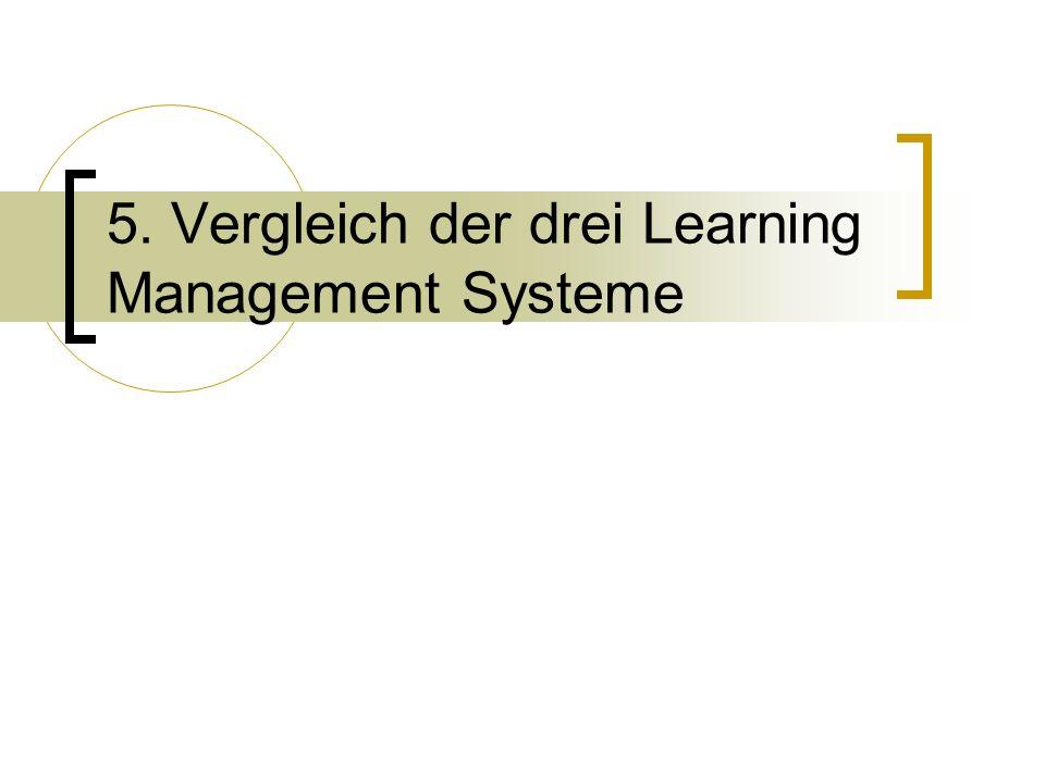 5. Vergleich der drei Learning Management Systeme
