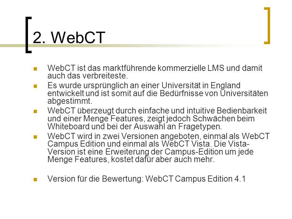 2. WebCT WebCT ist das marktführende kommerzielle LMS und damit auch das verbreiteste.