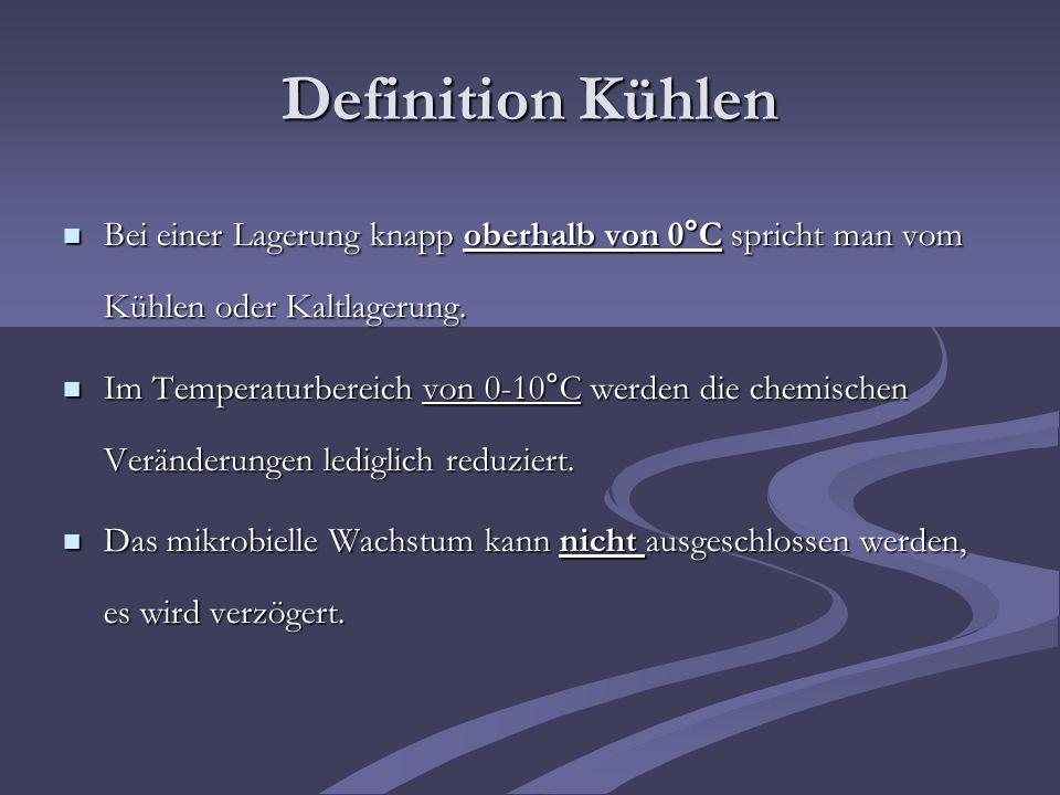 Definition Kühlen Bei einer Lagerung knapp oberhalb von 0°C spricht man vom Kühlen oder Kaltlagerung.