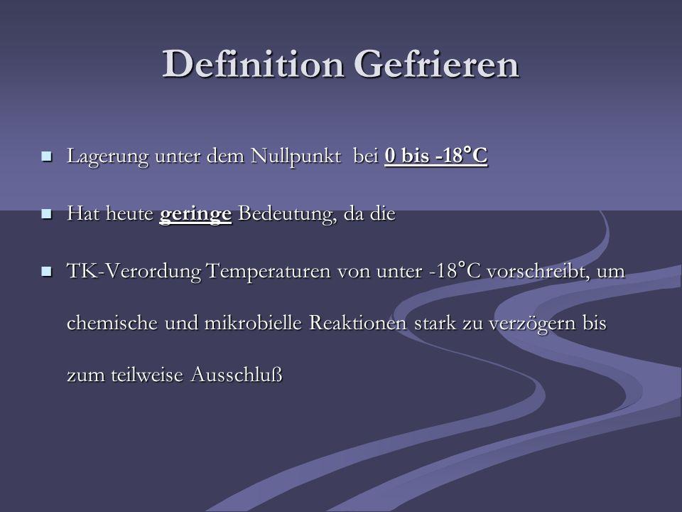 Definition Gefrieren Lagerung unter dem Nullpunkt bei 0 bis -18°C