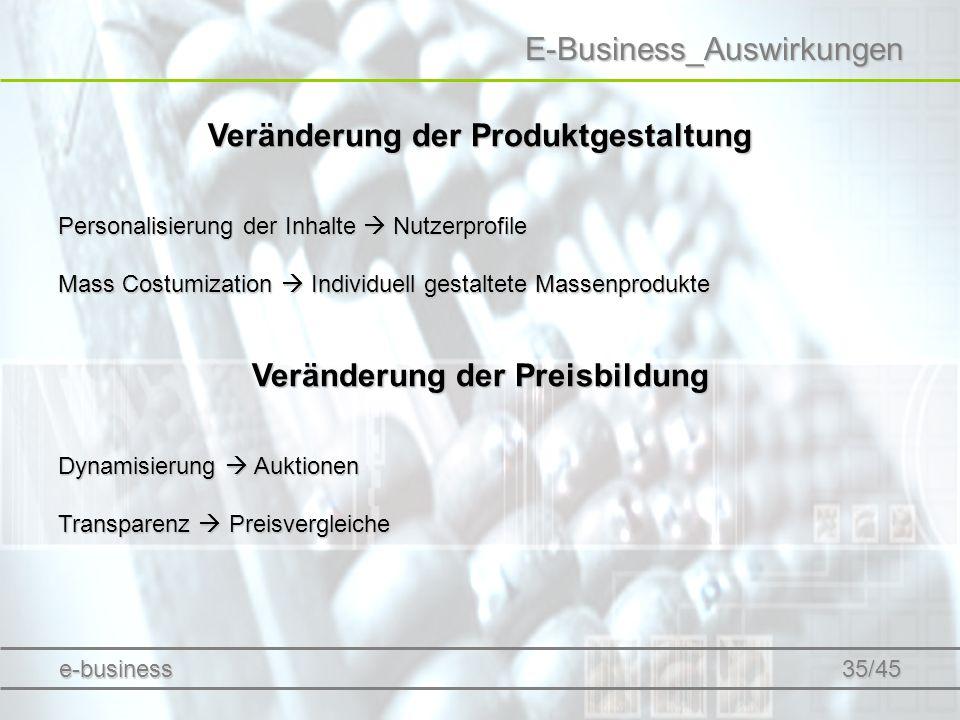 Veränderung der Produktgestaltung Veränderung der Preisbildung