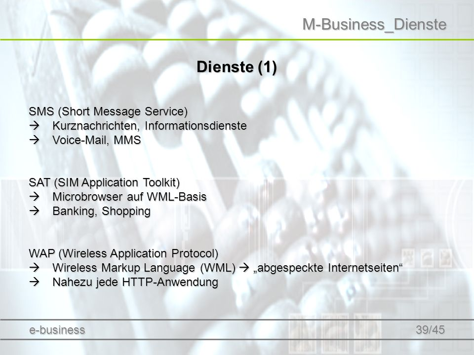 M-Business_Dienste Dienste (1) SMS (Short Message Service)