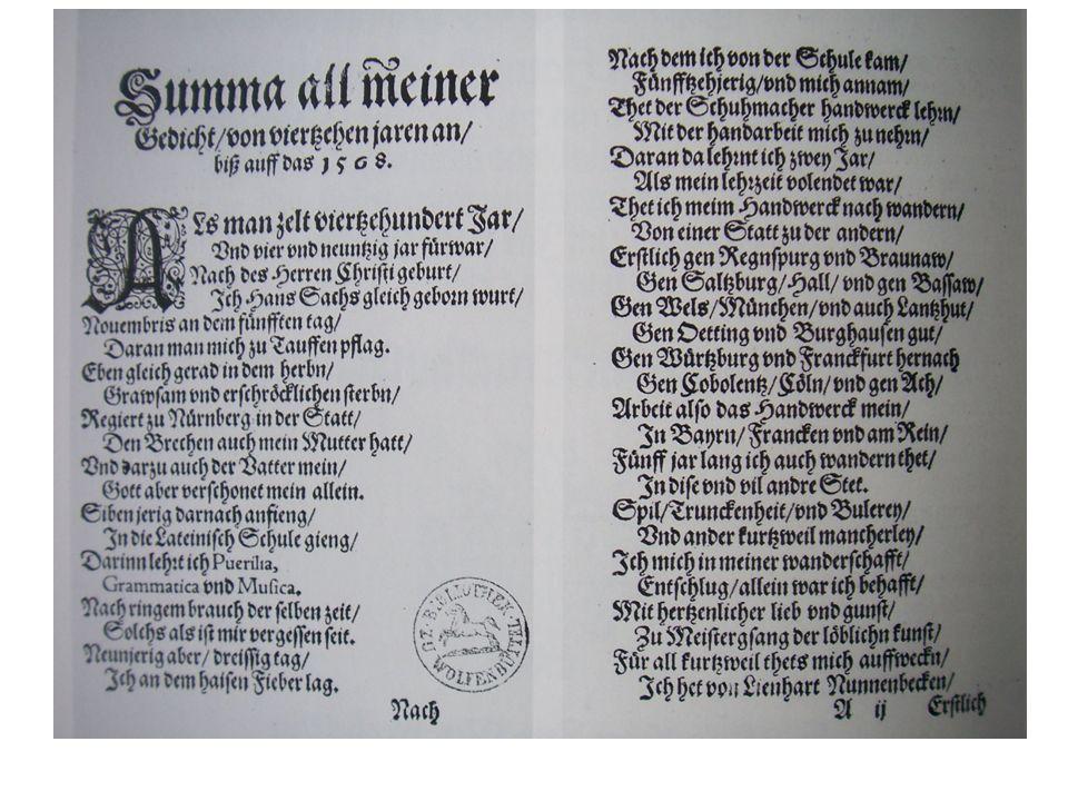 Hans Sachs, Spruchgedicht 'Summa all meiner gedicht' (1568)