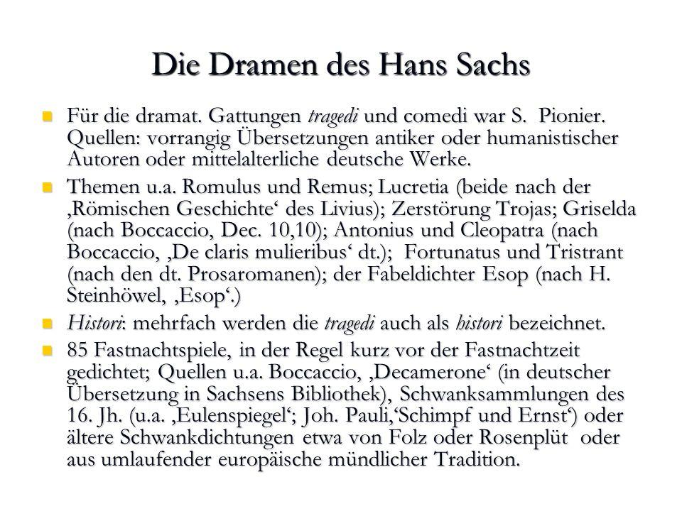 Die Dramen des Hans Sachs