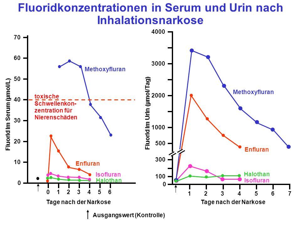 Fluoridkonzentrationen in Serum und Urin nach Inhalationsnarkose