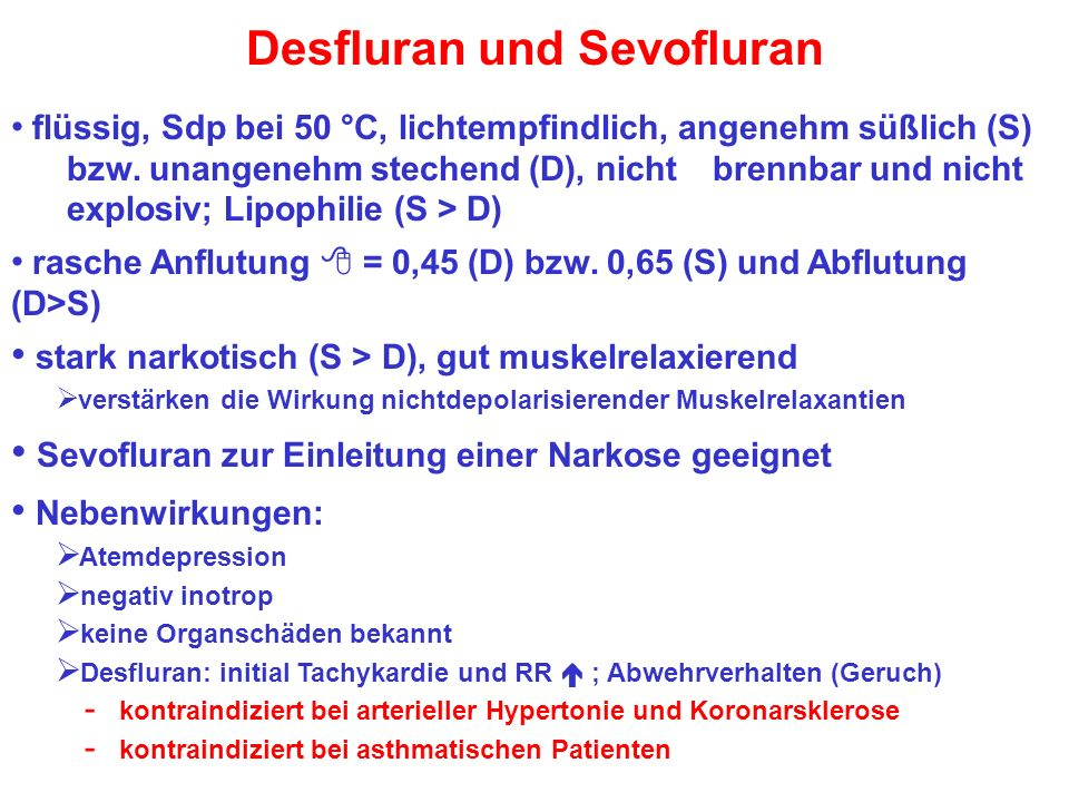 Desfluran und Sevofluran