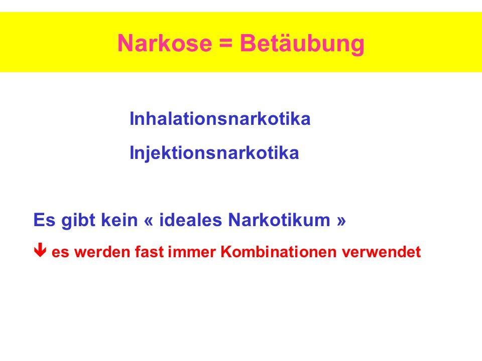Narkose = Betäubung Inhalationsnarkotika Injektionsnarkotika