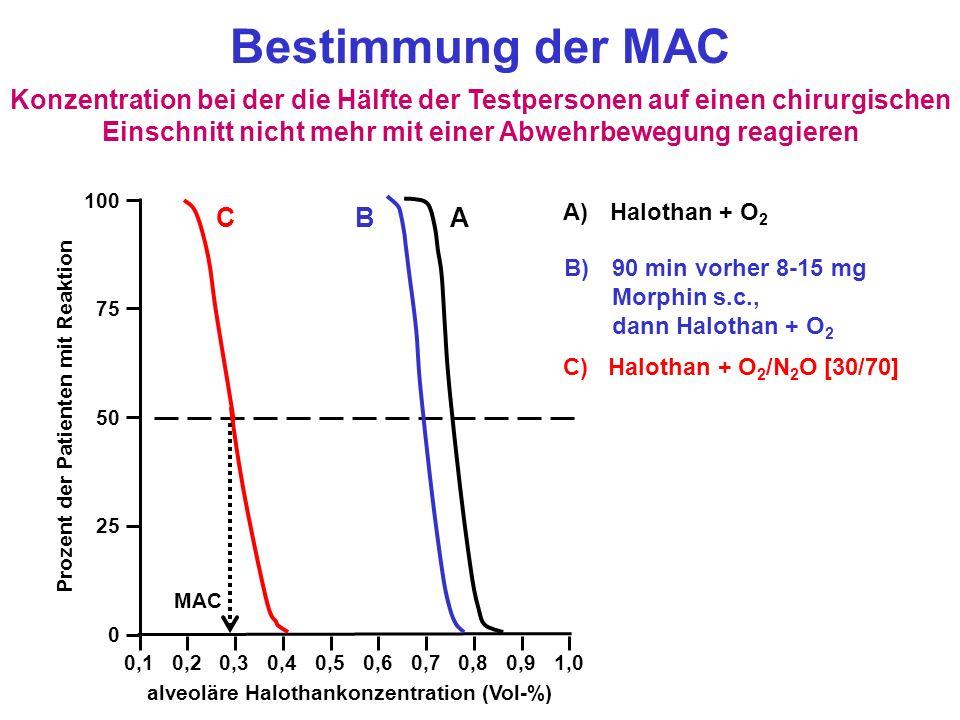 Bestimmung der MAC Konzentration bei der die Hälfte der Testpersonen auf einen chirurgischen Einschnitt nicht mehr mit einer Abwehrbewegung reagieren.