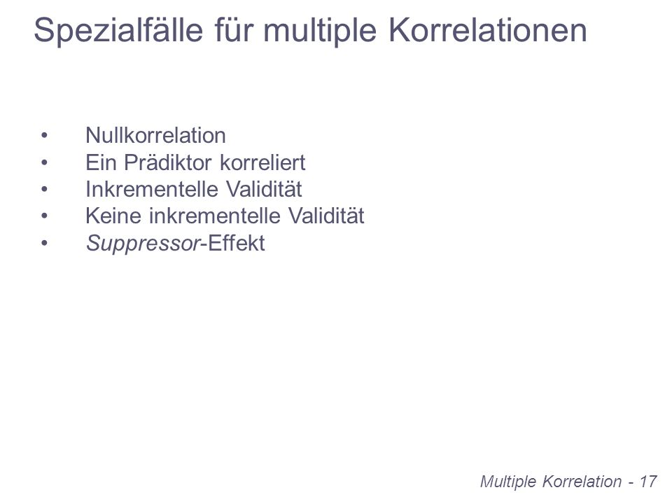 Spezialfälle für multiple Korrelationen