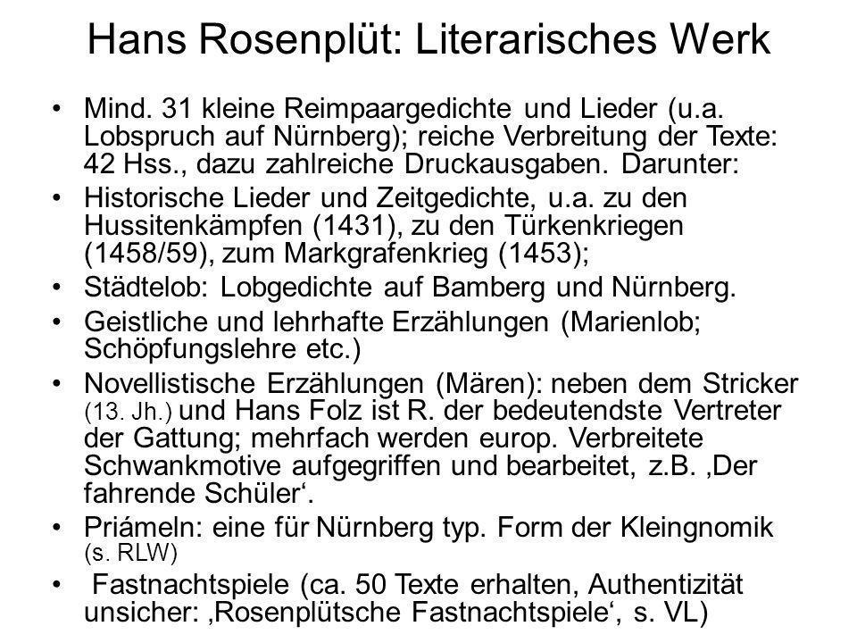 Hans Rosenplüt: Literarisches Werk