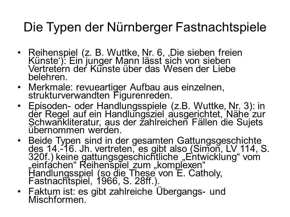 Die Typen der Nürnberger Fastnachtspiele