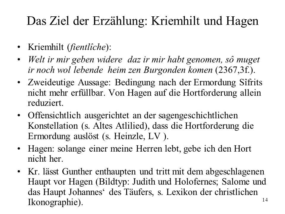 Das Ziel der Erzählung: Kriemhilt und Hagen