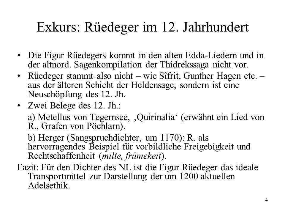 Exkurs: Rüedeger im 12. Jahrhundert