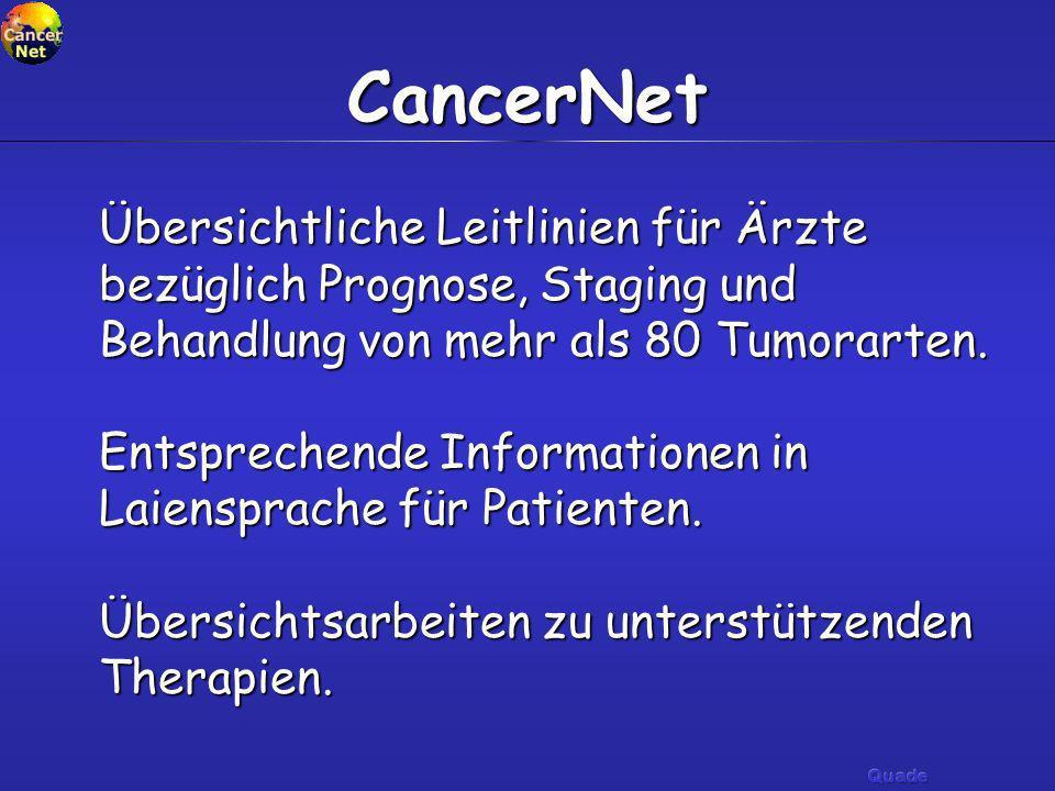 CancerNet Übersichtliche Leitlinien für Ärzte bezüglich Prognose, Staging und Behandlung von mehr als 80 Tumorarten.