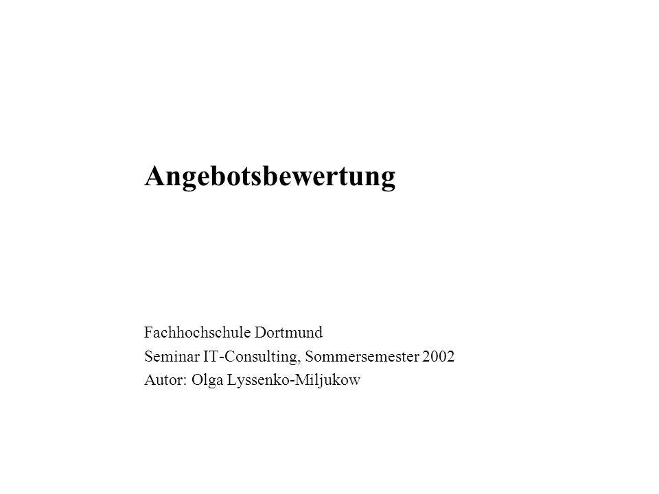 Angebotsbewertung Fachhochschule Dortmund