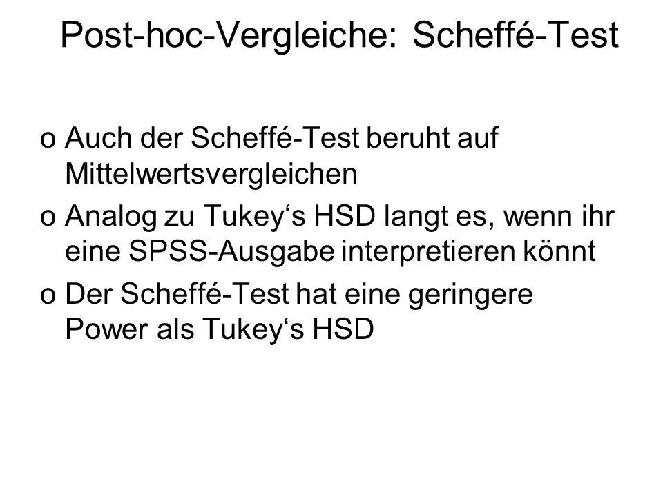 Post-hoc-Vergleiche: Scheffé-Test