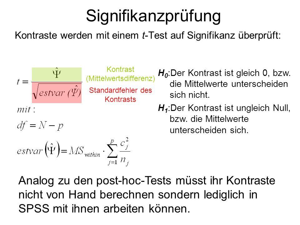 Signifikanzprüfung Kontraste werden mit einem t-Test auf Signifikanz überprüft: Kontrast (Mittelwertsdifferenz)