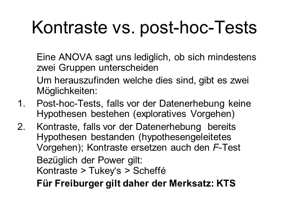 Kontraste vs. post-hoc-Tests