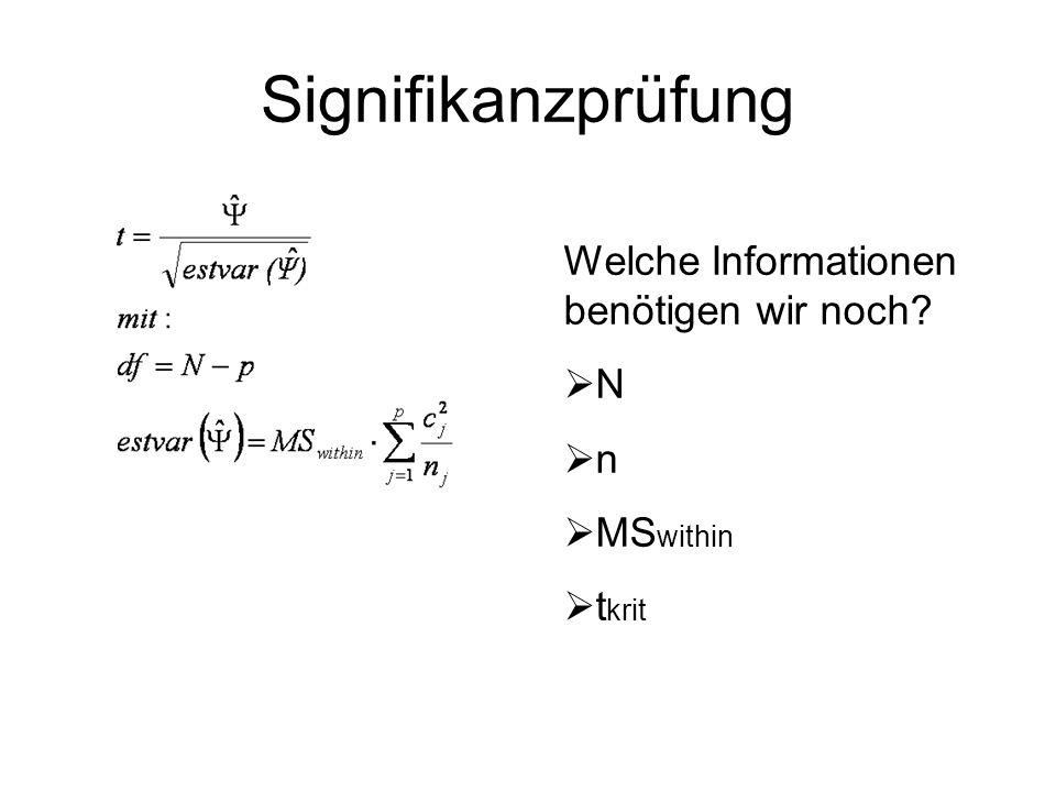 Signifikanzprüfung Welche Informationen benötigen wir noch N n