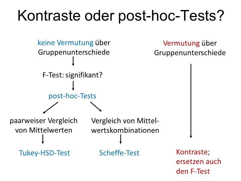 Kontraste oder post-hoc-Tests