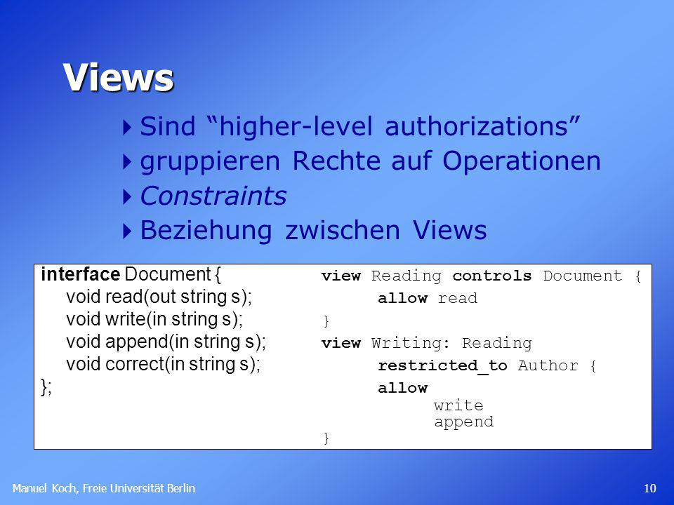 Views Sind higher-level authorizations