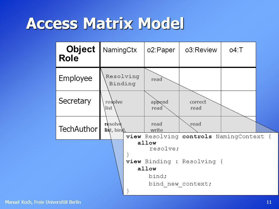 Access Matrix Model Object NamingCtx o2:Paper o3:Review o4:T