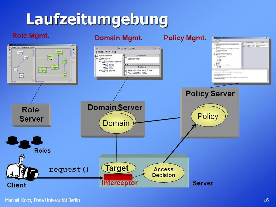 Laufzeitumgebung Policy Server Domain Server Role Server Policy Domain