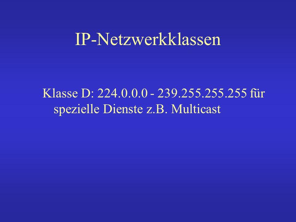 IP-Netzwerkklassen Klasse D: 224.0.0.0 - 239.255.255.255 für spezielle Dienste z.B. Multicast