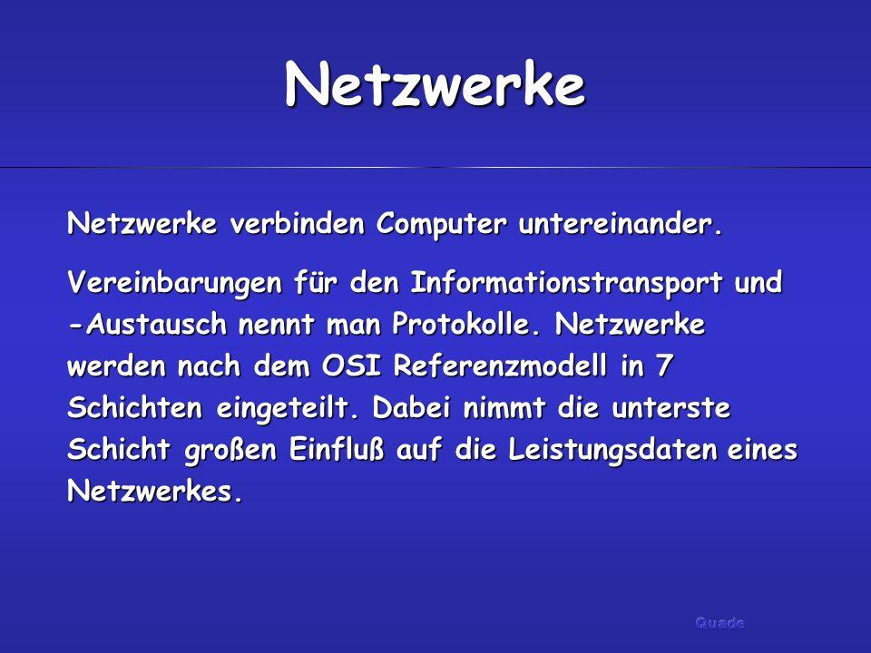 Netzwerke Netzwerke verbinden Computer untereinander.