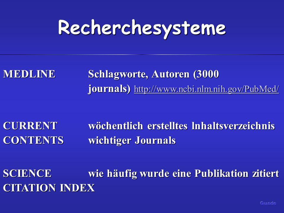 Recherchesysteme MEDLINE Schlagworte, Autoren (3000 journals) http://www.ncbi.nlm.nih.gov/PubMed/
