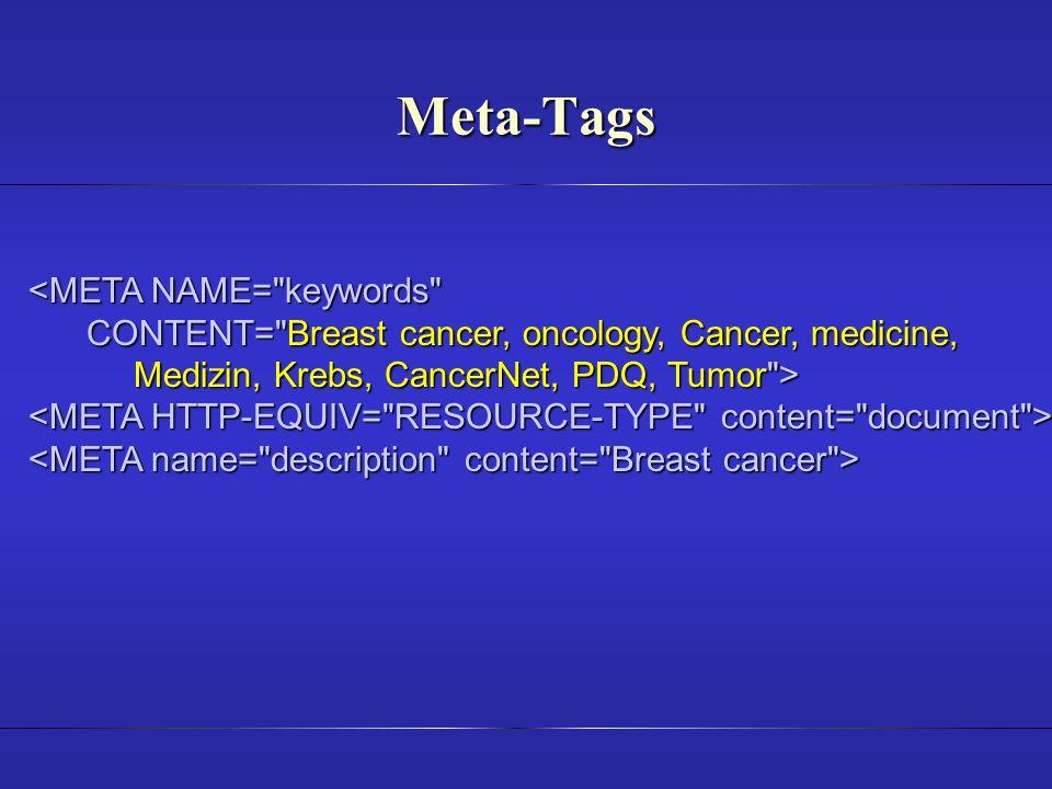 Meta-Tags <META NAME= keywords