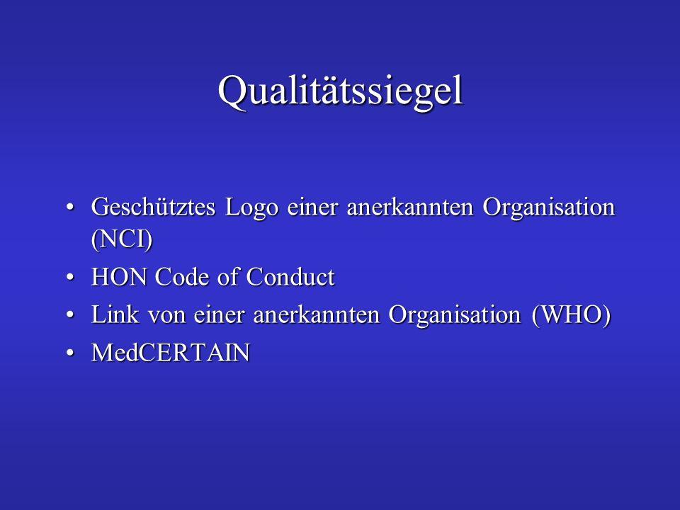 Qualitätssiegel Geschütztes Logo einer anerkannten Organisation (NCI)
