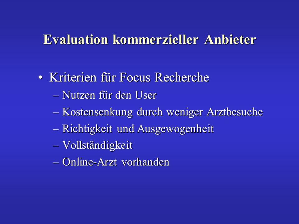 Evaluation kommerzieller Anbieter