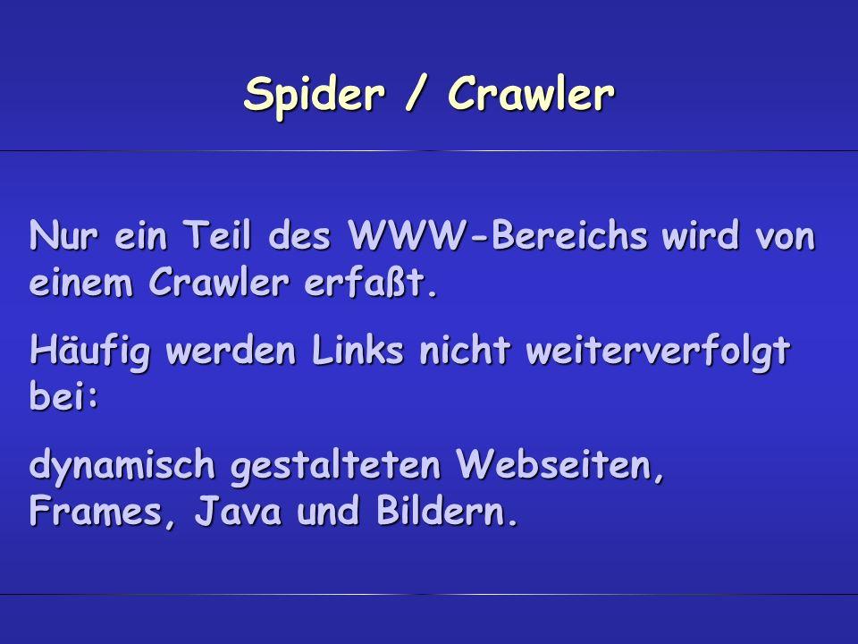 Spider / CrawlerNur ein Teil des WWW-Bereichs wird von einem Crawler erfaßt. Häufig werden Links nicht weiterverfolgt bei: