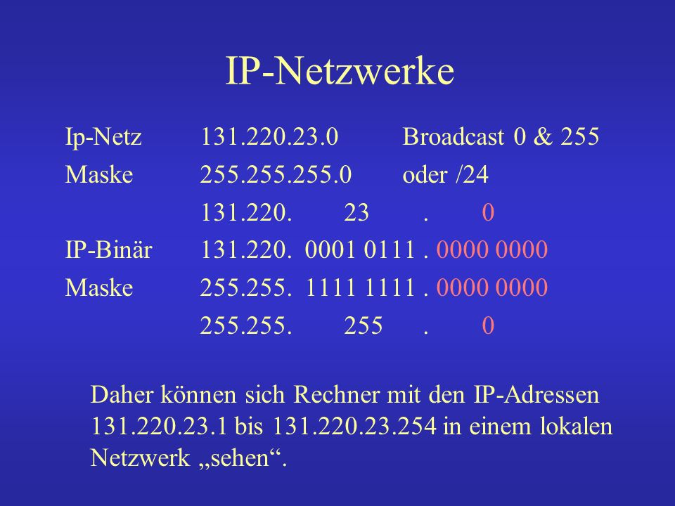 IP-Netzwerke Ip-Netz 131.220.23.0 Broadcast 0 & 255