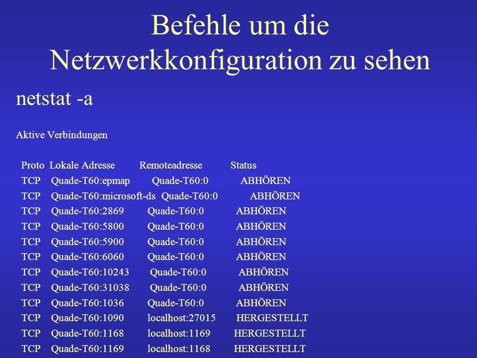 Befehle um die Netzwerkkonfiguration zu sehen