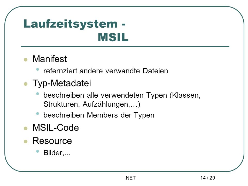 Laufzeitsystem - MSIL Manifest Typ-Metadatei MSIL-Code Resource