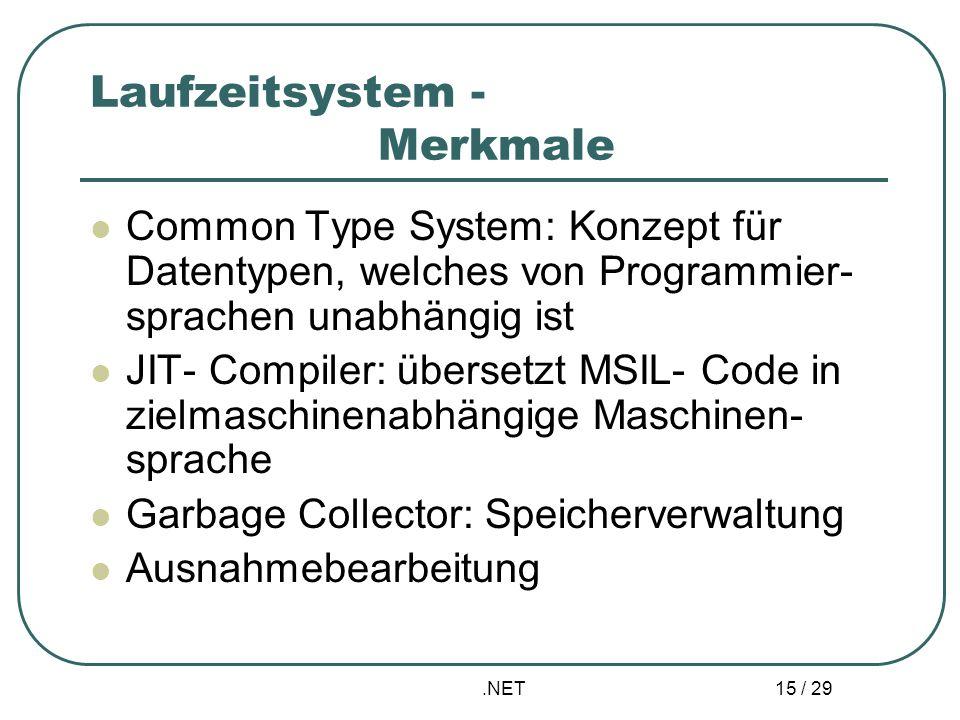 Laufzeitsystem - Merkmale