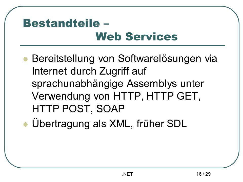 Bestandteile – Web Services