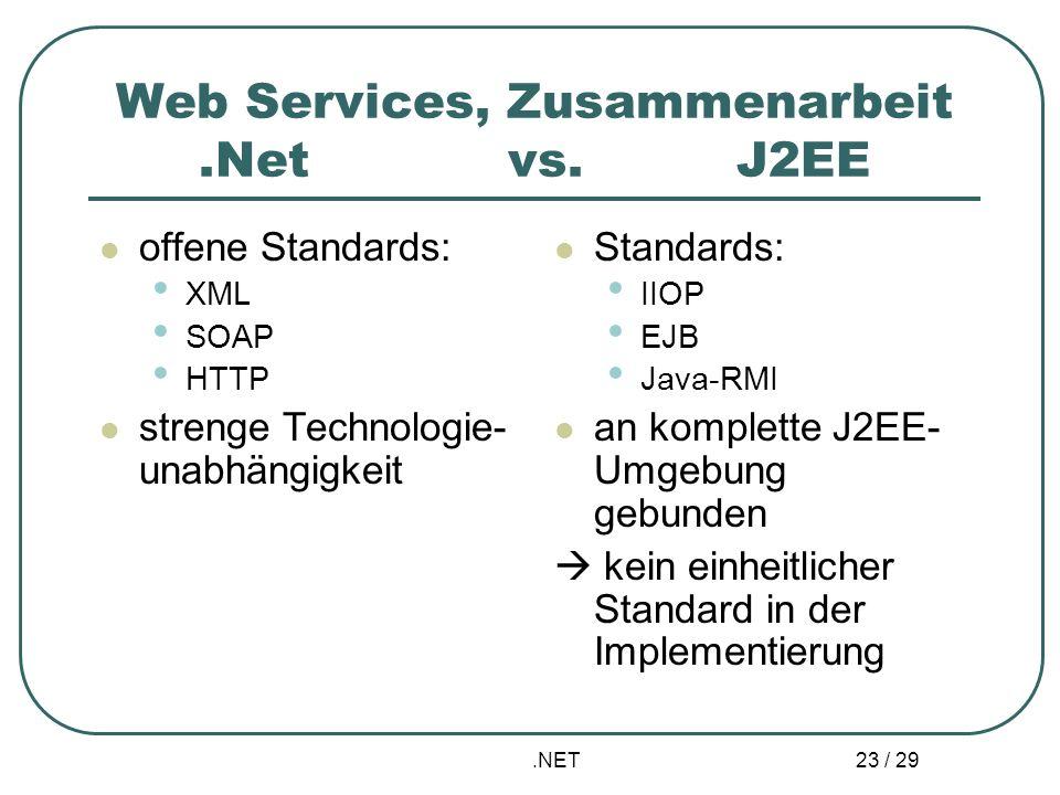 Web Services, Zusammenarbeit .Net vs. J2EE
