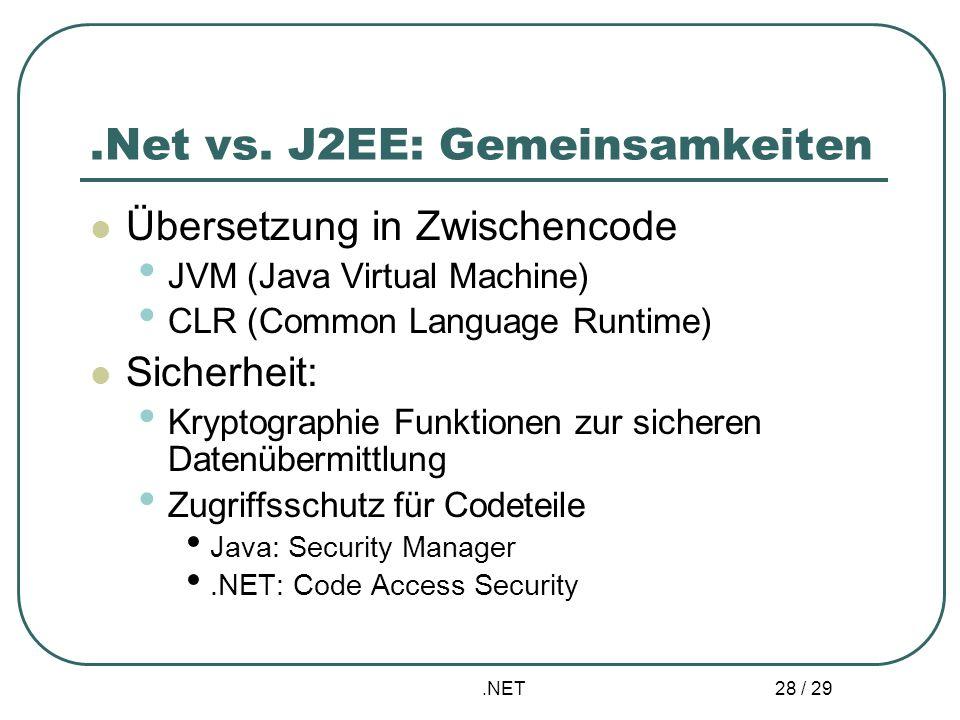 .Net vs. J2EE: Gemeinsamkeiten