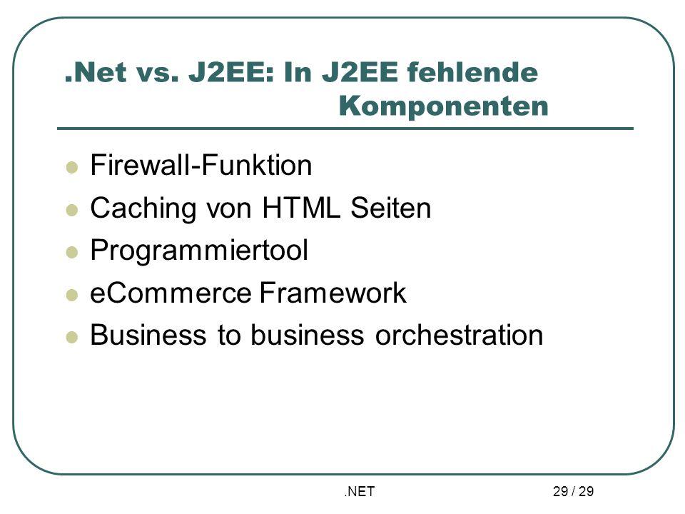 .Net vs. J2EE: In J2EE fehlende Komponenten