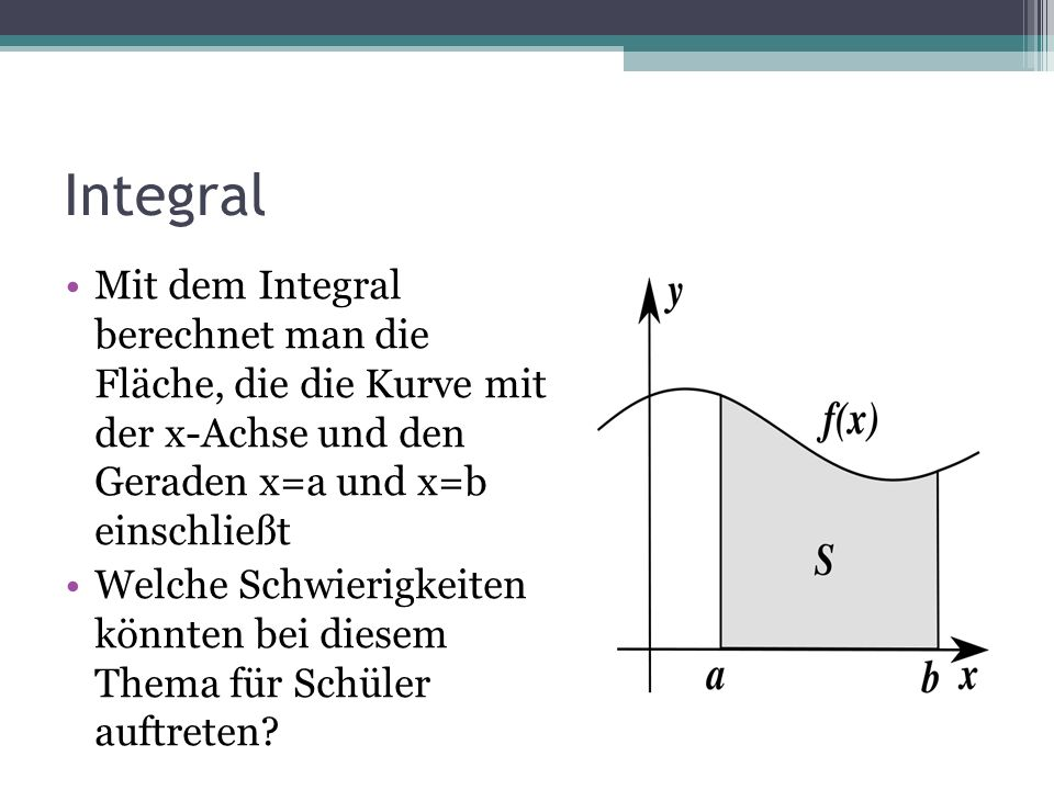 Integral Mit dem Integral berechnet man die Fläche, die die Kurve mit der x-Achse und den Geraden x=a und x=b einschließt.